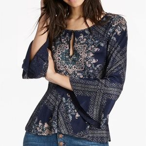 LUCKY BRAND PRINTED BELL SLEEVE BLOUSE - SZ XL
